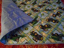 John Deere Plaid Blue Toddller Bed or Crib  Quilt Comforter  Blanket- Handmade
