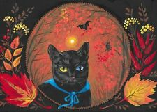 ACEO PRINT OF PAINTING RYTA BLACK CAT HALLOWEEN FOREST VINTAGE STYLE FOLK ART