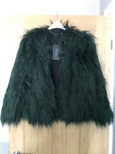 Zara Green Mongolian Faux Fur Short Jacket Size Medium New With Tags