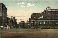 Shawnee OK Trolley Cars on Broadway c1910 Postcard