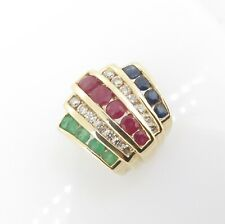 .Diamond Ruby Sapphire Emerald Set 14K Gold Ladies Slider Pendant Val $4195