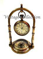 Nautical Victorian Brass Desk Clock with Compass Antique Home Office Decor Clock