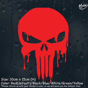 Bloody Red Punisher Skull Reflective Car Boat sticker halloween best gifts=x