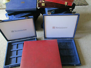 WESTMINSTER PRESENTATION BOX s  TAKE UP TO 36 X 52 mm coins VARIOUS TYPES