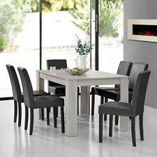 À Manger Chêne Blanc avec 6 Chaises Gris Foncé [140x90] Table Chaises