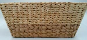 Woven Storage Organization Home Decor Basket 15x 8.5 x 7 Two Tone Brown