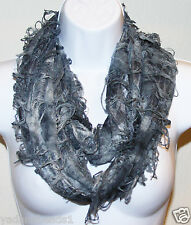 Women Fashion Fancy two tone double sided Forever Infinity Scarf Silver Grey