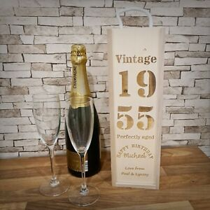 Personalised Wooden Wine Bottle Gift Box ~ Vintage ~ Laser Engraved
