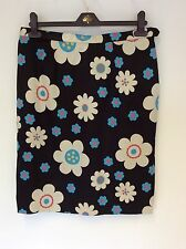 TAILOR MADE BLACK FLORAL SILK KNEE LENGTH PENCIL SKIRT SIZE 14