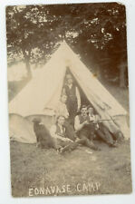 "Vintage Real Photo Postcard RPPC Men in tent with Gun & Dog "" Ednavase Camp """
