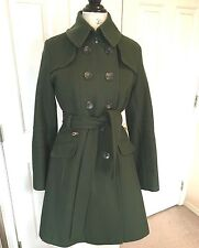 DKNY Ladies Army Olive Green Coat 6 Military swing a-line 1940's WW2 style s/m