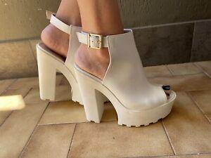 Sexy White Open Toe High Heels Platform Truck Soles Woman Well Worn Clogs