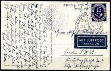 Bund Nr. 129 Portogerechte Einzelfrankatur auf Luftpostkarte  Mi 100€  (3)