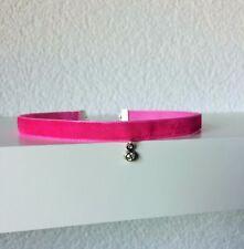 Halsband Choker Kropfband Dirndl Samt Kette 1cm pink Anhänger silber Strass