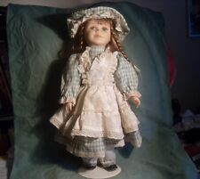 Ashley Belle Porcelain Girl in Green Checkered Lace Dress w/Hat and Stand #0305