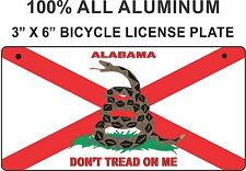 """Alabama Novelty Aluminum 3"""" x 6"""" BICYCLE State License Plate  / STATE FLAG"""