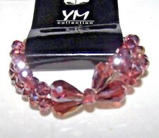 YM COLLECTION STRETCH LAVENDER CRYSTAL DOUBLE ROW BRACELET