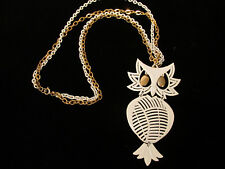 Vintage ALAN Owl Necklace Pendant White Gold Tone Articulating Double Chain 24 i