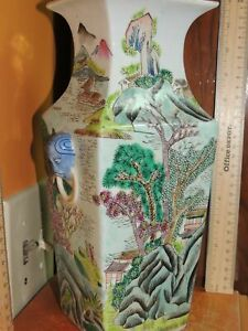 """Vase 11"""" Hand Painted Famille Rose Antique 20th Republic / Early Fishing Village"""