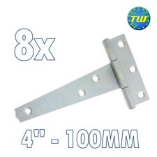 "8PK 4"" Tee Hinges 100mm Cabinet Shed Door & Gate T Hinge + Galvanised Finish"