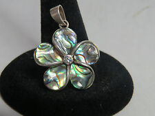 AIC Abalone FLOWER WITH ZIRCON 925 sterling NO SCRAP VERY NICE CHARM PENDANT