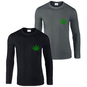 Mens New Weed marijuana Cannabis Green leaf print Long sleeve black t-shirt/Top