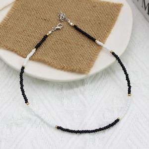 Necklace Choker Black - White Beads String Elegant Summer Gift Bag UK