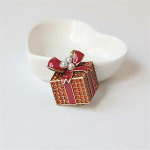 Heidi Daus Pave Package Crystal Pin Brooch Red