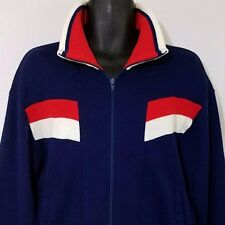 Asics Tiger Track Jacket Vtg 70s 80s Full Zip Blue White Red Mens Size Large EUC