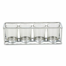 Oblong Silver Metal T Lite Candle Table Decoration 4 Candle Holder HE759