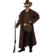 """Cowboy """"Western Willy"""" Costume 4 Pc Br Duster Coat Shirt Belt & Mustache STD."""