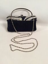 Isabella Adams Evening Bag Clutch Purse Black/Silver Swarovski Crystals