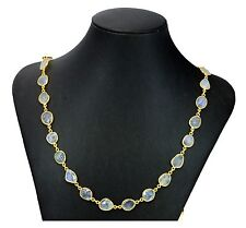 Blue Moonstone Necklace Rainbow Bezel Set Large Chain 14k gold fill 36 Inch