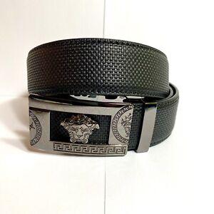 Mens Pavini Adjustable Ratchet Belt Knit Black Syn Leather Gray Buckle Geek Lion