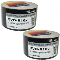 100 PACK TRAXDATA DVD-R 16X SPEED FULL FACE INKJET PRINTABLE 4.7GB BLANK DISCS