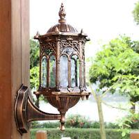 Glass Lantern Wall Light Fixture Garden Outdoor Lamp Sconce Bulb Holder E27
