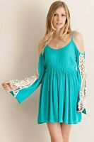 NWOT Entro Boho Teal Crochet Long Gypsy Bell Sleeve Cold Shoulder Hippie Dress