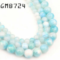 Natural Blue Sky White Persian Jade Stone Round Loose Beads for Jewelry Making
