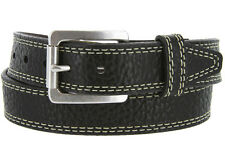 "Lejon Austin Pebble Grained Genuine Bison Leather Belt 1-5/8"", Black Brown Tan"