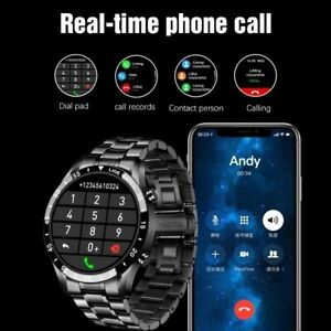 circle touch screen steel Band luxury Bluetooth call Men smart watch Waterproof