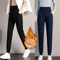 Womens Winter Warm Fleece Lined Thicken Trousers Thermal Long Pants Sweatpants