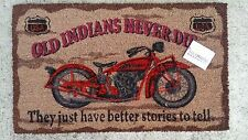 Old Indian Motorcycle PVC Backed Natural Coir  Door Mat