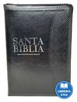 BIBLIA REINA VALERA 1960 LETRA GIGANTE PIEL ITALIANA DE LUJO NEGRO CON CIERRE