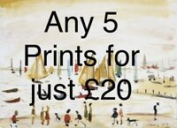 Any 5 Prints For £20 - SMALL LS Lowry Prints In Mount Ready To Frame -
