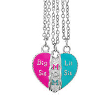 "3 PC Heart Pendant ""Big Sis"" ""Little Sis"" ""Mom"" Necklace with Chains"