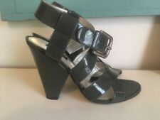 DOLCE & GABBANA Olive Green Patent Leather Buckle Sandals Heels Size 38.5 $950