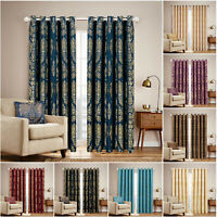 Luxury Jacquard Curtains Eyelet Ring Top Ready Made Fully Lined Window Curtain