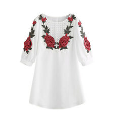 Fashion Women White Embroidered Lace Dress Loose Evening Party Mini Dress
