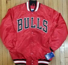 Authentic Red Chicago Bulls Starter Brand NBA Tough Seasons Satin Jacket