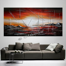 "Red Sunset Painting Large ABSTRACT Original art, 72"" canvas Artwork Oil Painting"